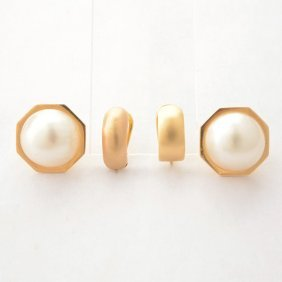 Collection Of Two Pairs Of Mabe Cultured Pearl, 14k