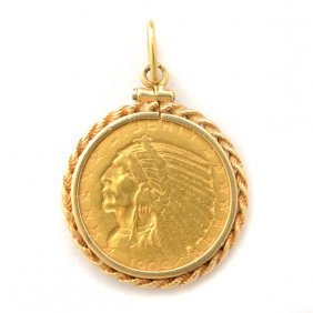 Indian Head Gold Coin, 14k Yellow Gold Pendant.
