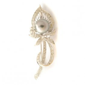 Cultured Pearl, Diamond, 18k White Gold Brooch.