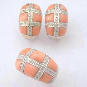 *coral, Diamond, 18k White Gold Jewelry Suite.