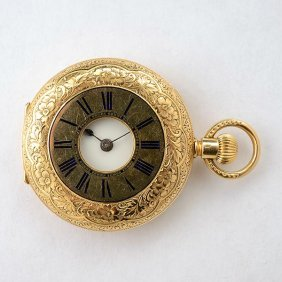 18k Yellow Gold Demi Hunting Case Pocket Watch.