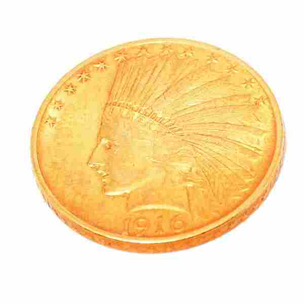 1916 (S) U.S. Indian Head $10 Gold Coin