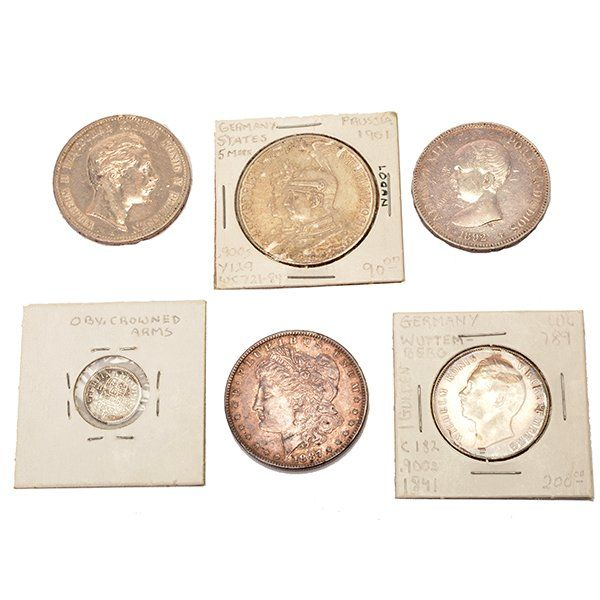 Lot of (6) 19th Century Silver Coins