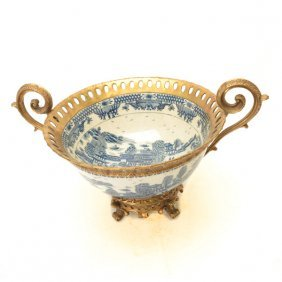 An Underglaze Blue Punch Bowl With Gilt-metal Mounts