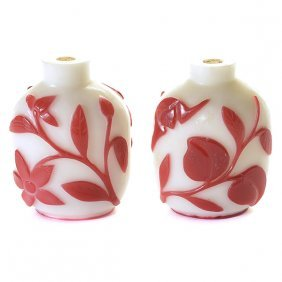 Two Red Overlay White Glass Snuff Bottles
