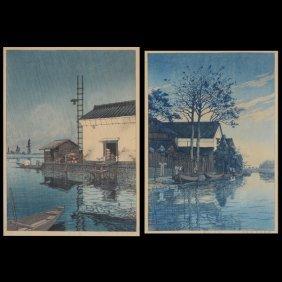 Kawase Hasui (1883-1957): Two Woodblock Prints