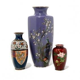 Three Japanese Enameled Vases