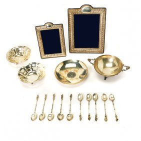 Two Sterling Picture Frames, Four Bowls, And Apostle