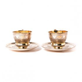 Pair Of Russian Fydor Ivanov 84 Standard Silver Teacups