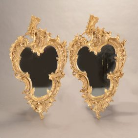 Pair Of French Louis Xv Style Giltwood Cartouche Form