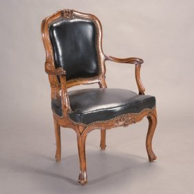 Victorian Rococo Revival Armchair With Black Leather