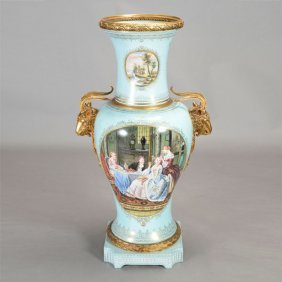 Monumental Sevres Style Bronze Mounted Porcelain Vase