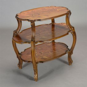 Art Nouveau Galle Style Floral Inlaid Three Tier Table