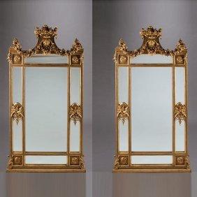 Pair Of Louis Xvi Style Giltwood Pier Mirrors