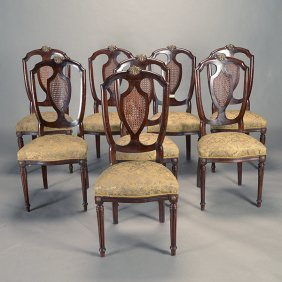Set Of Eight Louis Xvi Style Bronze Mounted And Caned