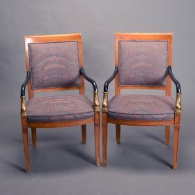 Pair Of Empire Style Parcel Gilt Armchairs By Century