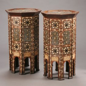 Pair Of Levantine Shell And Hardwood Parquetry