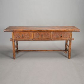 Renaissance Style Three Drawer Console Table