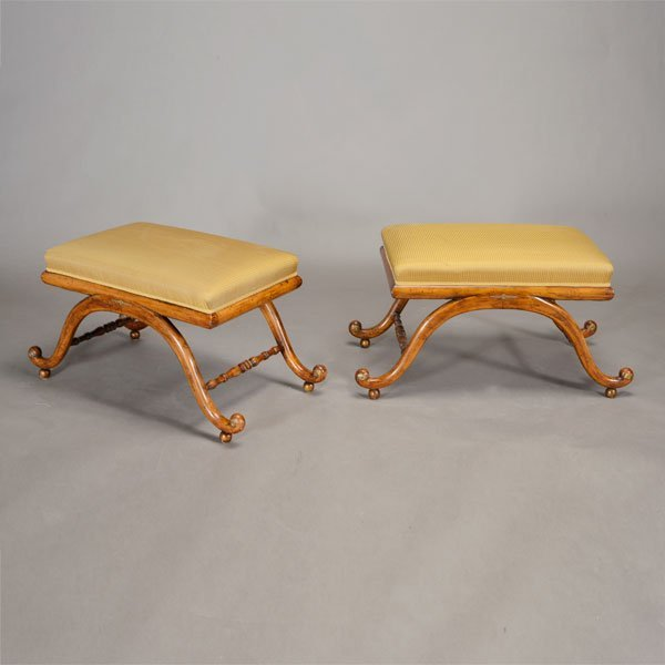 Pair Regency Style Striped Upholstered Curule Benches