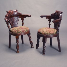 Pair Of Renaissance Revival Hall Chairs With