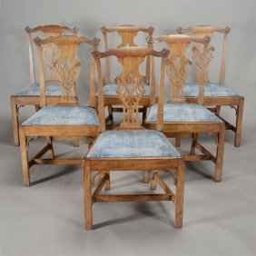 Suite Of Six Chippendale Dining Chairs With Blue Slip