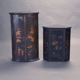 Two Georgian Chinoiserie Lacquer Cabinets