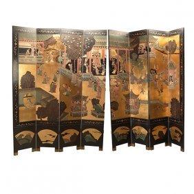 Massive Pair Of Four Panel Coromandel Screens