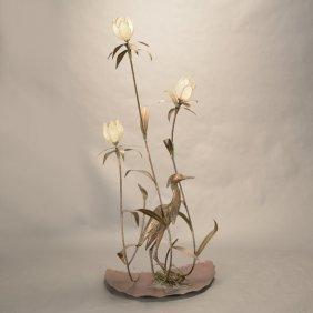 Art Nouveau Style Brass Figural Three Light Lamp