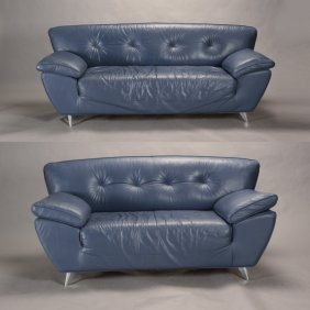 Pair Of Contemporary Modernist Tufted Blue Leather