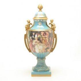 Large Sevres Style Porcelain Covered Urn