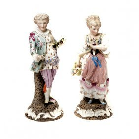 Matched Pair Of Dresden Floral Encrusted Porcelain