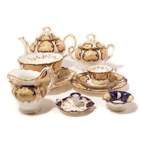 English New Hall Porcelain Dessert And Tea Service