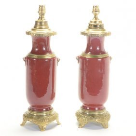 Pair Of Chinese Oxblood Bronze Mounted Vases Mounted As