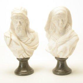 Pair Of Italian Carrara Marble Busts