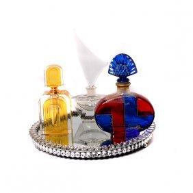 Three Art Deco Style Perfume Bottles And Rhinestone