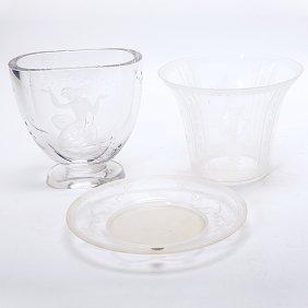 Swedish Kjellander Mermaid Vase, Orrefors Plate And