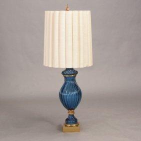 Seguso Gilt Bronze Mounted Blue Glass Urn Form Lamp