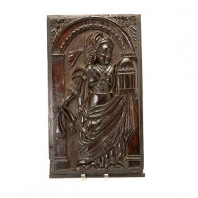 Bruges Flemish Carved Wood Panel Picturing A Lady
