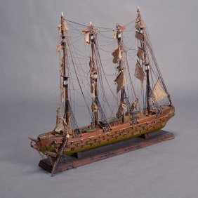 American Ship Model With Four Masts
