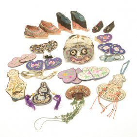 Group Of Chinese Silk Accessories