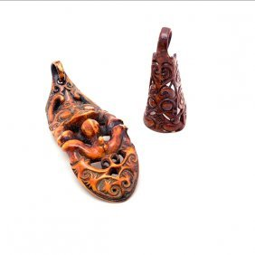 Two Carved Hornbill Earrings, Probably Borneo