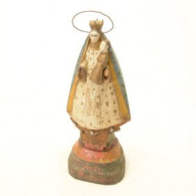 Carved Wood Polychrome Painted Santos Figure