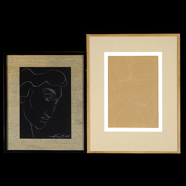 """M. TENNENT """"Walking Woman and Portrait of a Man"""" White"""