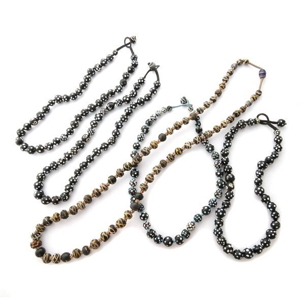 Collection of Five Glass Trade Bead Necklaces.