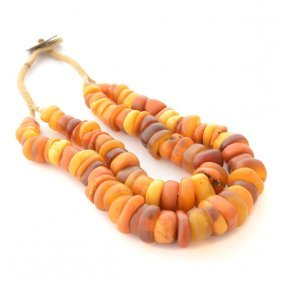 West African Amber Bead Necklace.