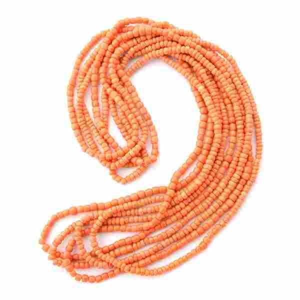 *Collection of Five Chinese Coral Bead Necklaces.