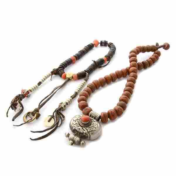 *Collection of Two Tibetan Prayer Bead, Coral