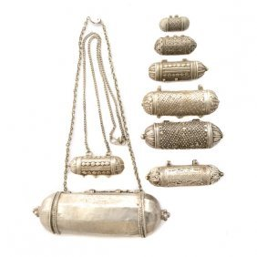 Collection Of Eight Middle Eastern Silver Amulet