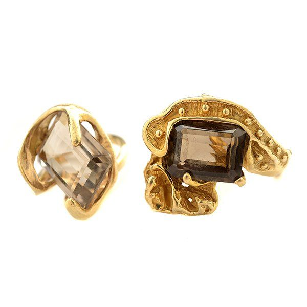 Collection of Two Smoky Quartz, 14k Yellow Gold Rings.