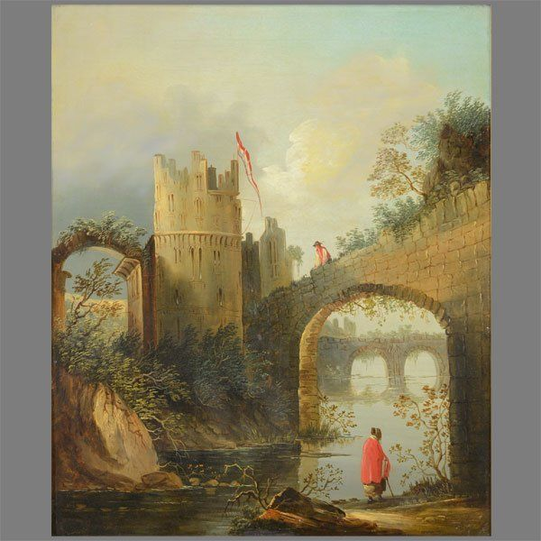 """CONTINENTAL SCHOOL 19th C. """"Canal by the Castle Ruins"""""""